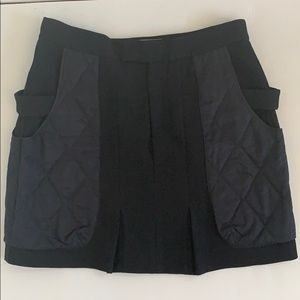 MARNI black quilted wool mini skirt. Size 44